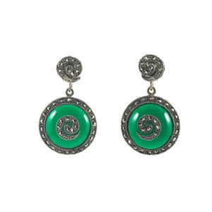 mercasite green onyx sterling silver earrings