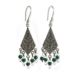 Tribal green onyx pearls earrings