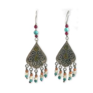 tribal turquoise pearls earrings
