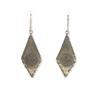 tribal motif sterling silver earrings
