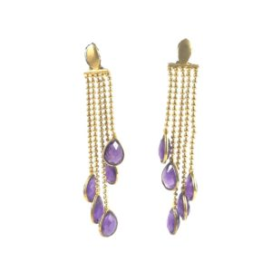 chain & amethyst gemstone set sterling silver earrings from gold plated silver jewellery