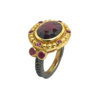 checkered cut garnet gemstone sterling silver ring from designer silver jewellery jewelry
