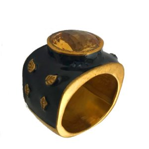 citrine black enamel sterling silver ring from gold plated designer silver jewellery jewelry for men & women
