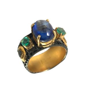 tanzanite emeralds sterling silver ring
