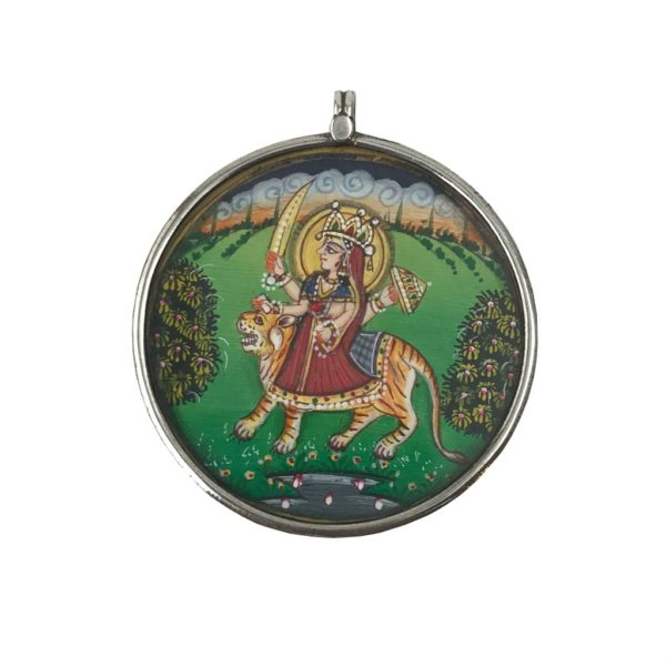 durga painted painting sterling silver pendant from religious silver jewellery jewelry
