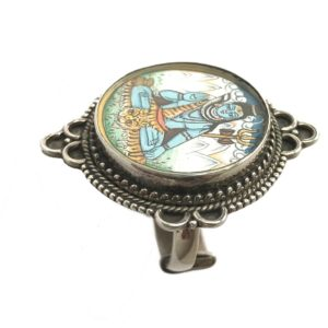 sterling silver ring with shiva painting