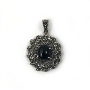black onyx & mercasite gemstone set sterling silver pendant