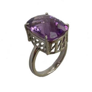checkered cut amethyst gemstone jaali or lattice-cut sterling silver ring