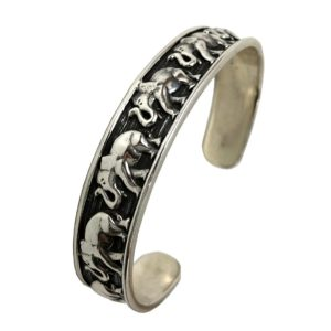 sterling silver bracelet or cuff with elephants