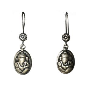 lord ganesha sterling silver earrings in oval design and pure 925 sterling silver jewellery for festive occasion
