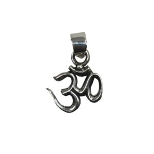 small sized om pendant in pure 925 sterling silver jewellery collection