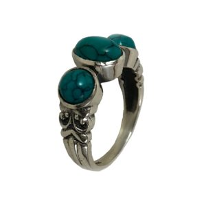 turquoise set silver ring in pure 925 sterling silver jewellery