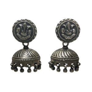 oxidized silver jhumka jhumki sterling silver earrings from religous silver jewellery collection