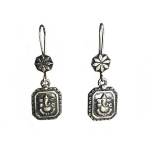 long hanging ganesha earrings in pure 925 sterling silver jewellery for women