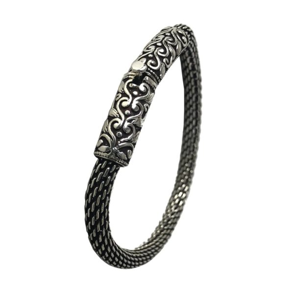 modern sterling silver flexible chain bracelet for men & women
