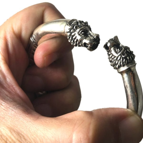 lion heads of sterling silver kada for men & women