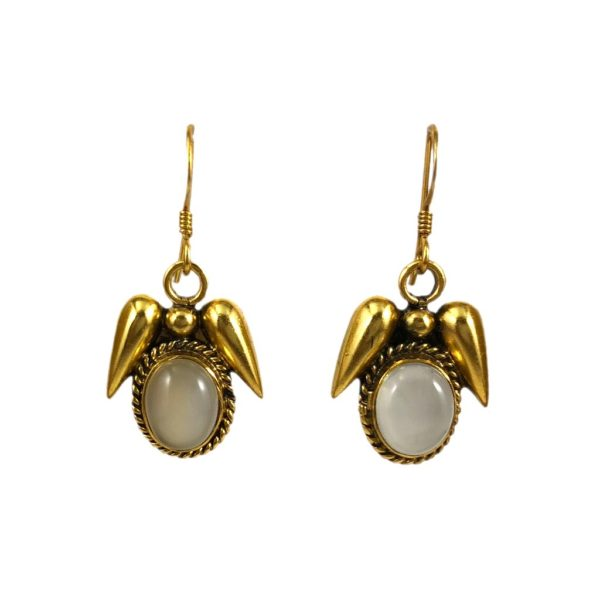 gold plated sterling silver earring set with moonstone gemstone from gold plated silver jewellery for women