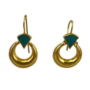 buy gold plated silver earrings set with turquoise from gold plated silver jewellery collection