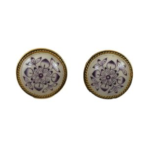 round blue white enamel gold plated silver earrings